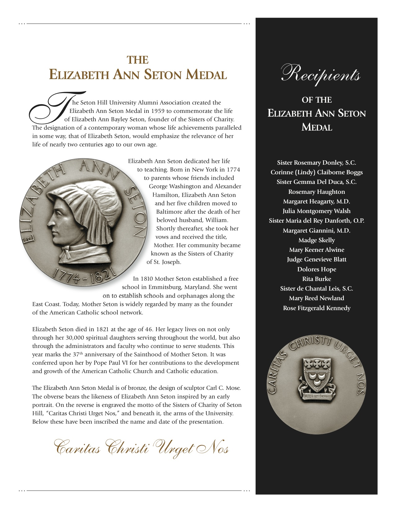 Elizabeth Ann Seton Medal description